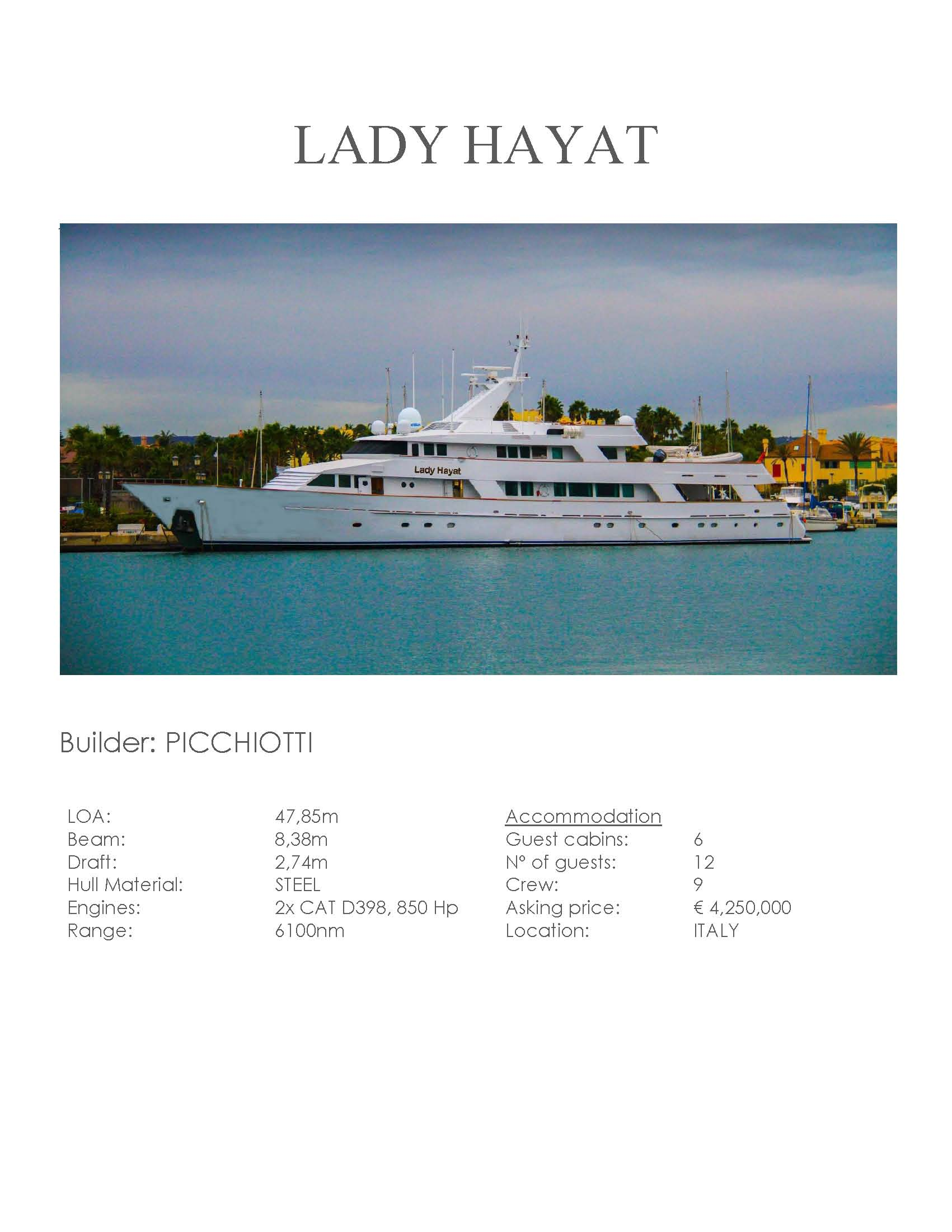 LADY HAYAT for sale 2019 Specifications Pagina 01.jpg